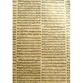 Portées musicales noires sur ocre jaune