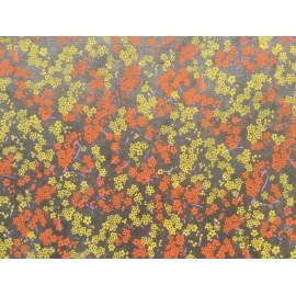 Branche fleurie orange et jaune sur gris