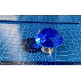 Bouton carafe à facettes bleu