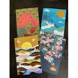 Lot de 4 cartes doubles japonisantes