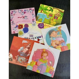 Lot de 6 cartes simples anniversaire enfant