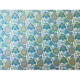 Fleurs indiennes tons bleu turquoise