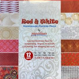 Pack Origami papiers imprimés indiens rouge/blanc