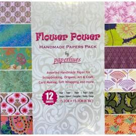 Pack Origami papiers imprimés indiens thème fleurs