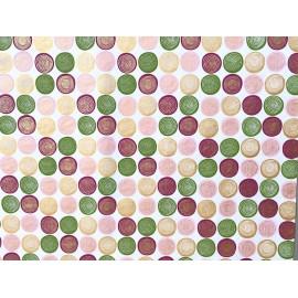 Spirales vert et rose sur blanc