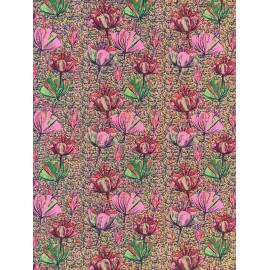 Fleuri rose et vert sur craquelé ocre