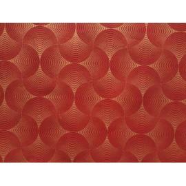 Ovales lignés or sur rouge