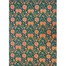 Fleurs d'orient orange sur vert