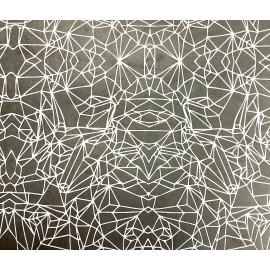 Tracés géométriques blanc sur gris