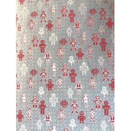 Robot rouge fond gris