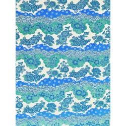 Japonais frise de fleurs turquoise et vert d'eau