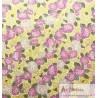 Japonais hortensias rose et mauve fond jaune