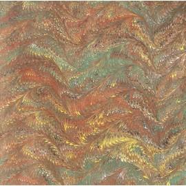 Marbré plumes marron vert jaune