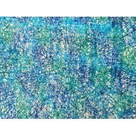 Fibres turquoise et bleu sur papier ciré