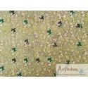 Feuille sur papier ciré fond vert