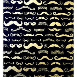 Moustaches or sur fond noir