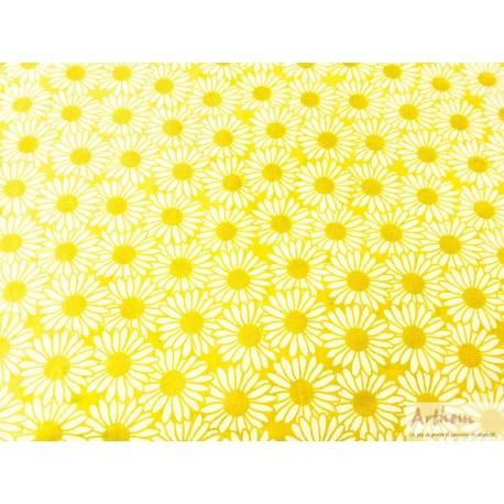 Marguerites blanches et or sur fond jaune