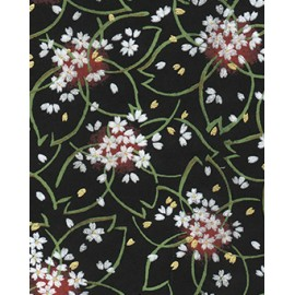 Chiyogami Bouquets blancs fond noir