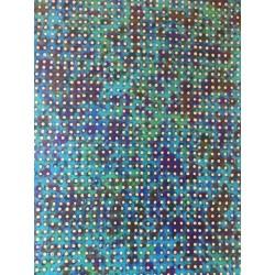 Pois ivoire sur papier ciré fond vert bleu et brun