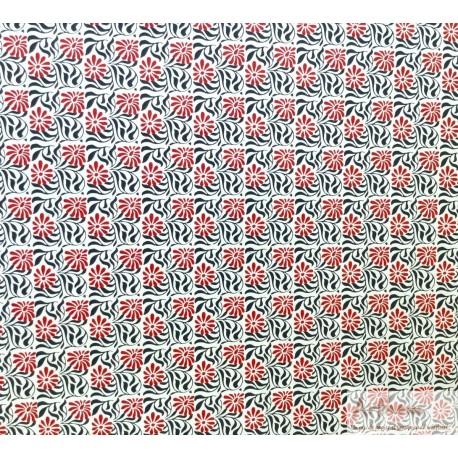 Motif floral traditionnel népalais rouge noir fond écru