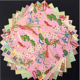 Pack Origami papiers japonais gamme rose, turquoise, orange