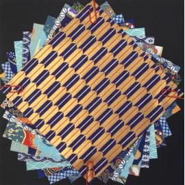 Pack Origami papiers japonais bleu clair, orange, bleu foncé, rouge