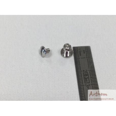 Bouton de col boule nickel avec strass (petit)