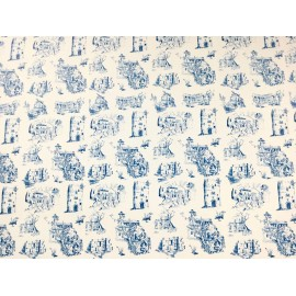 Toile de Jouy bleu sur ivoire
